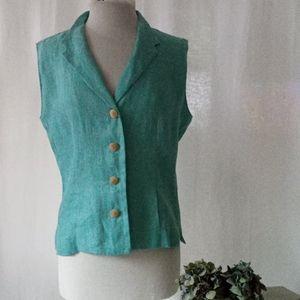 Harve Benard sky blue linen wood button vest sz M